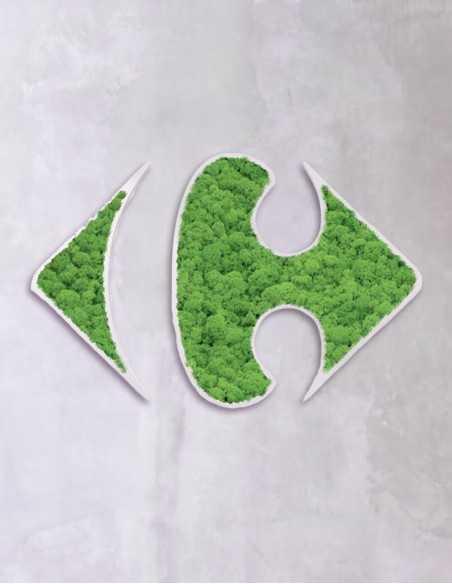 logos de musgo en pared de microcemento